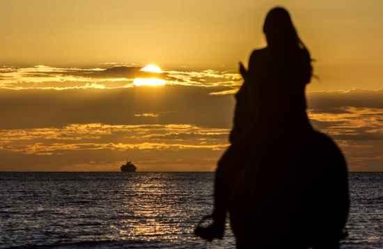 Equitación en la Puesta de Sol Junto al Mar en El Cotillo